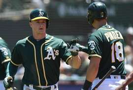 OAKLAND, CA - JUNE 10:  Matt Chapman #26 of the Oakland Athletics is congratulated by Chad Pinder #18 after Champman scored against the Kansas City Royals in the top of the second inning at the Oakland Alameda Coliseum on June 10, 2018 in Oakland, California.  (Photo by Thearon W. Henderson/Getty Images)