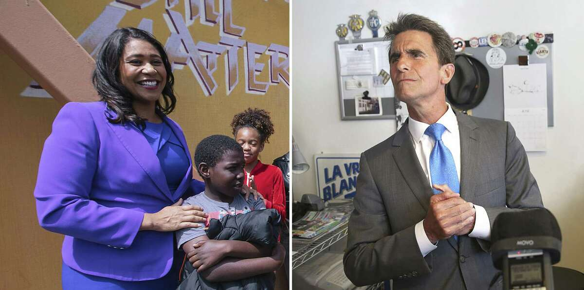 London Breed, left, was edged out after second-choice votes were tabulated in the election day count, but mail and provisional ballots being counted day by day have put her back in the lead - albeit a very small lead - over rival candidate Mark Leno, right. More than 25,500 ballots are left to be counted.