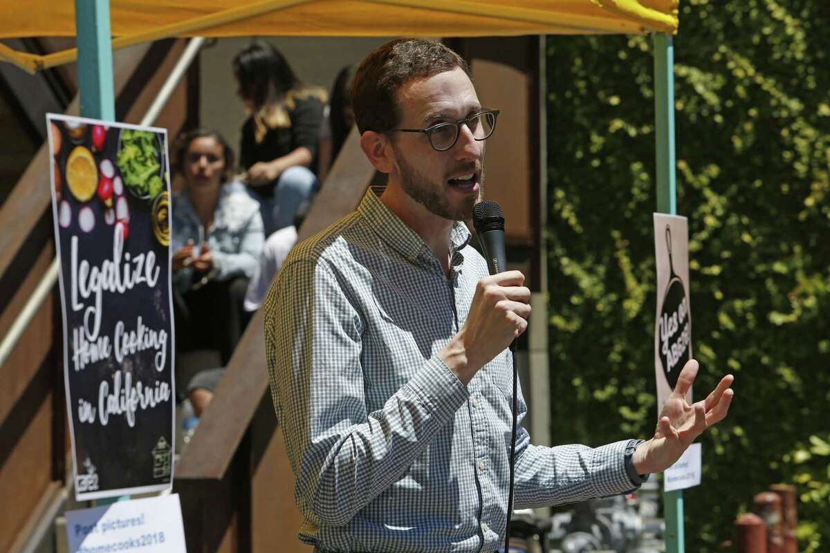 State Sen. Scott Wiener speaks at a rally in support of Assembly Bill 626, the 2018 Homemade Food Operations Act, at the Forage Kitchen in Oakland.