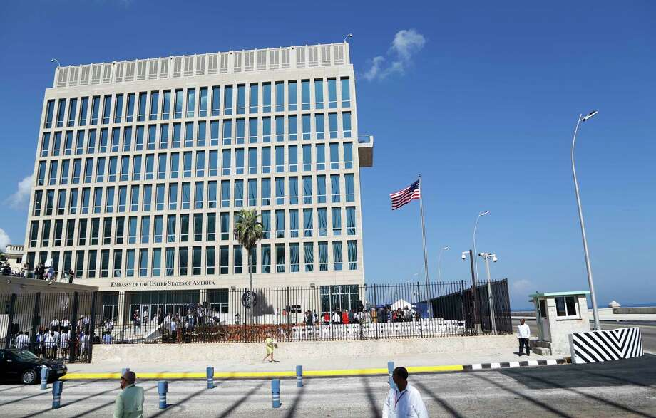 """FILE - This Aug. 14, 2015 file photo shows the U.S. embassy in Havana, Cuba. Cuba released details Sunday, June 10, 2018 on the latest mysterious health incident involving a U.S. diplomat in the country, saying officials learned of the episode late May 2018 when the U.S. said an embassy official felt ill after hearing """"undefined sounds"""" in her home.  U.S. officials said June 8, 2018 that they had pulled two workers from Cuba and were testing them for possible brain injury.  (AP Photo/Desmond Boylan, File) Photo: Desmond Boylan / Copyright 2017 The Associated Press. All rights reserved."""