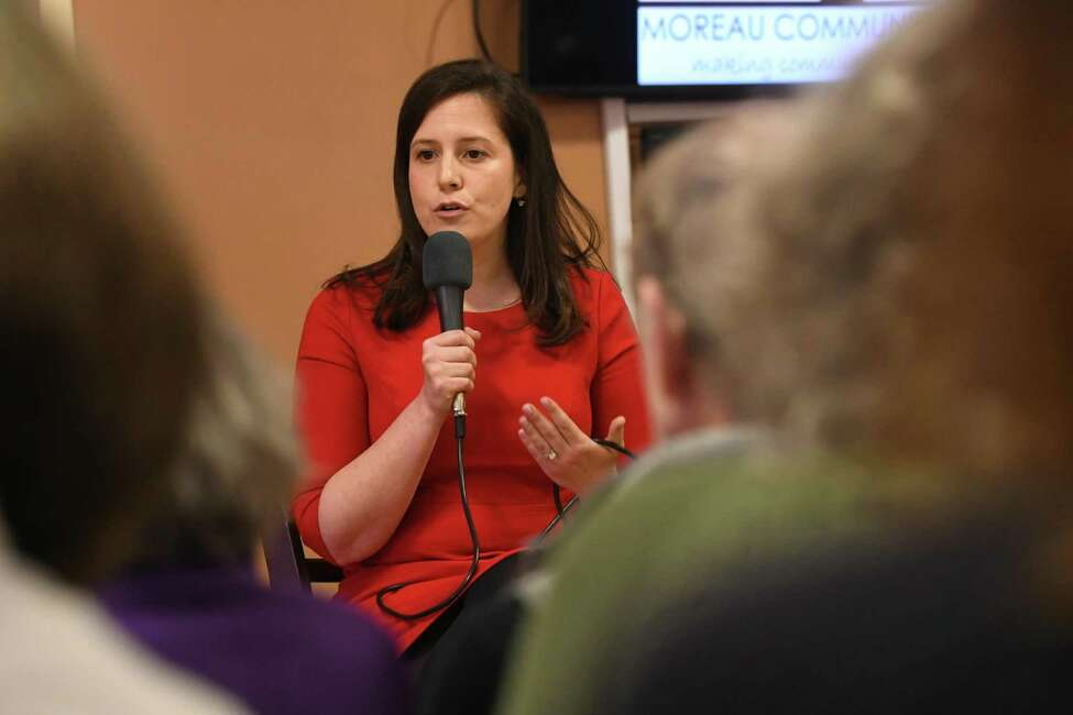 FILE - Congresswoman Elise Stefanik meets with constituents in a town-hall style event held at Moreau Community Center on Thursday, April 5, 2018 in South Glens Falls, N.Y. (Lori Van Buren/Times Union)