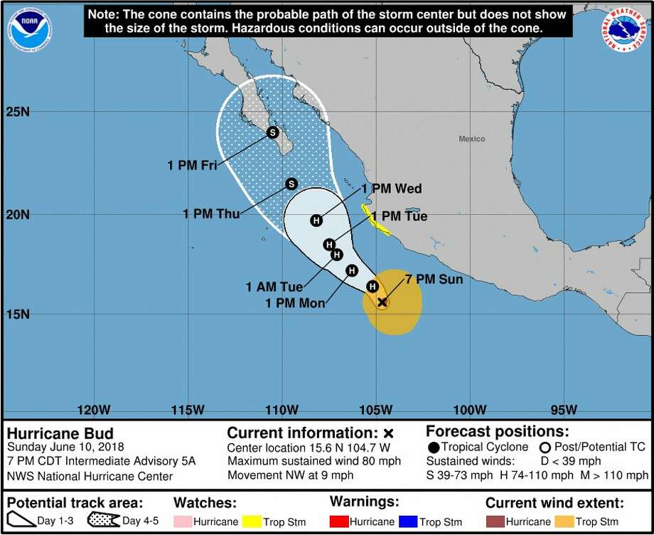 Hurricane Bud strengthens off the coast of Mexico on Sunday, June 10, 2018. Photo: NOAA