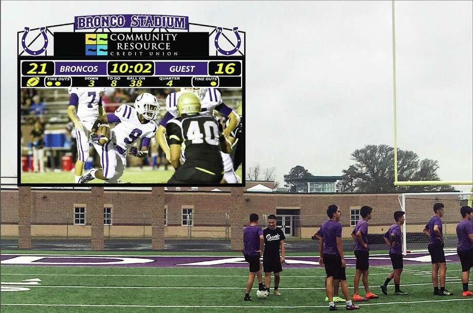 Bronco Stadium this fall will feature a full, HD video quality 20-foot by 36-foot scoreboard capable of not only keeping the score but playing back game video and sponsored commercials. The scoreboard is already paid for by sponsors and will not cost the district a dime. Photo: David Taylor / HCN