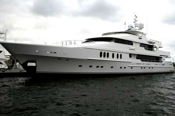 "Tiger Woods' yacht ""Privacy"" is seen docked in Florida in 2009."