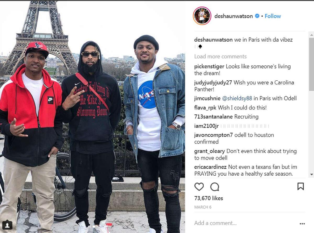 Houston Texans quarterback Deshaun Watson spent some time with Giants receiver Odell Beckham Jr., in Paris this offseason.