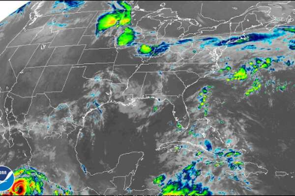 Satellite images show the Gulf of Mexico's heat patterns on Monday, June 11, 2018.