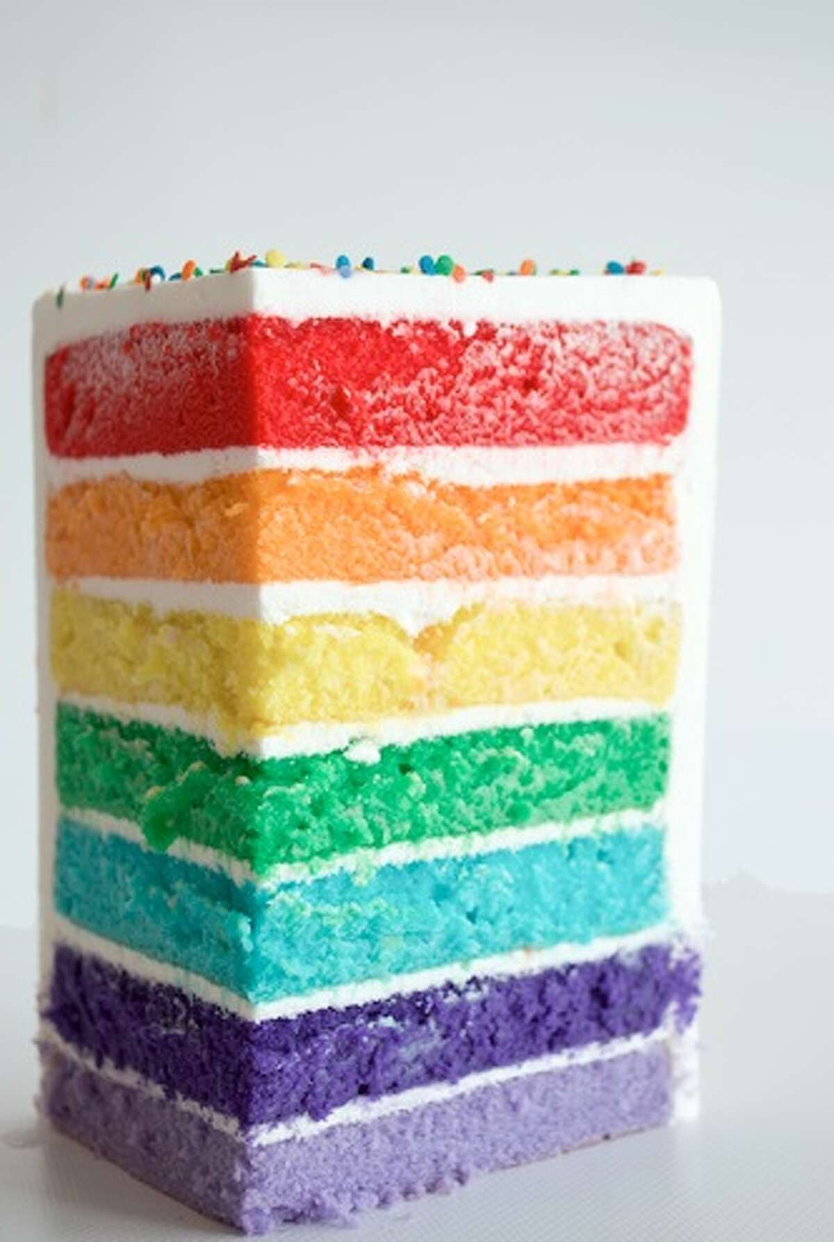 Three Brothers Bakery is offering a seven-layer cake in the colors of the Pride flag for Gay Pride Month, June 2018.