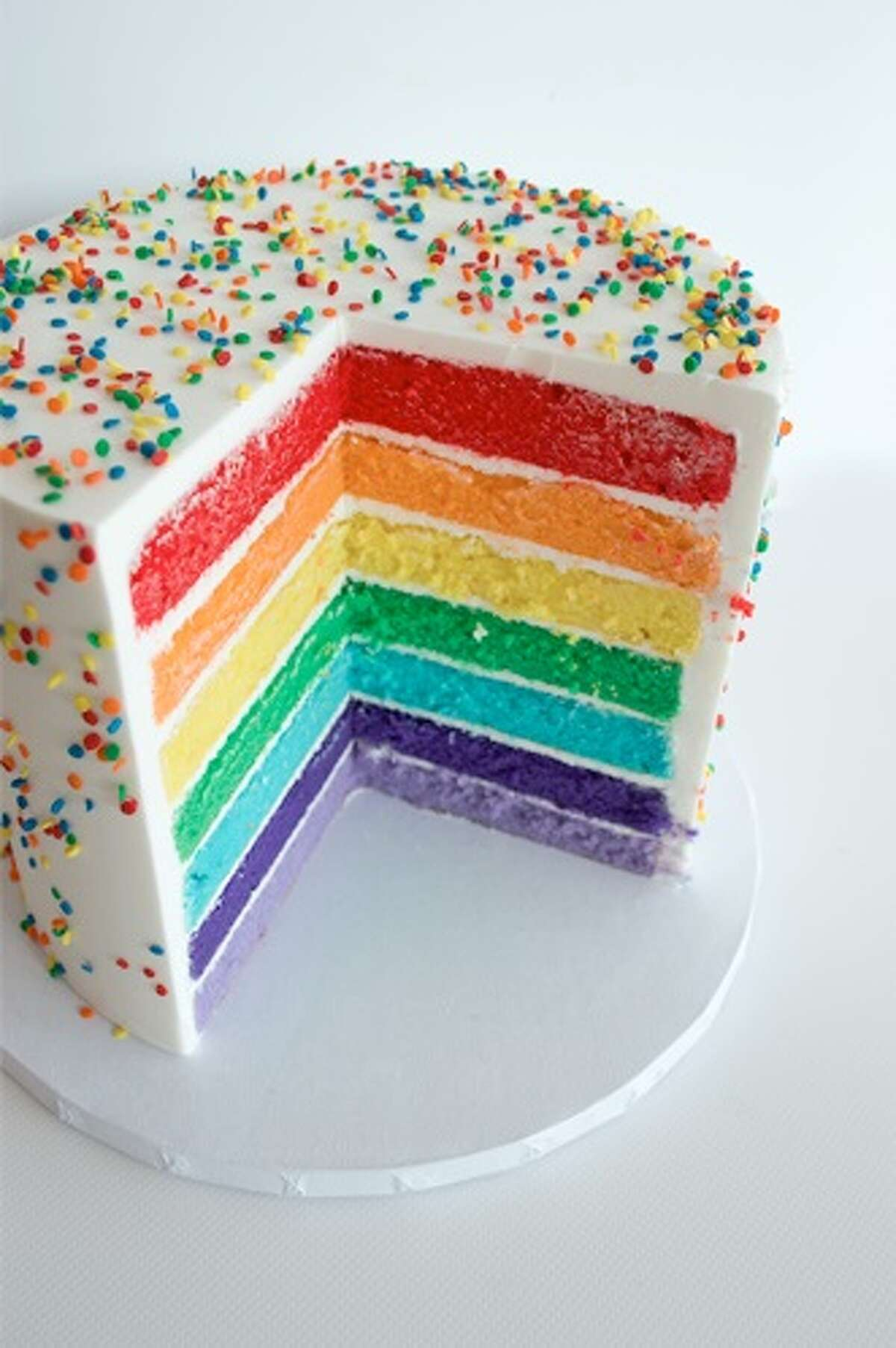 Three Brothers Bakery is offering a seven-layer cake in the colors of the Pride flag for Gay Pride Month, June 2018. Check out more photos of pride-themed desserts and how Houston has celebrated gay pride through the years.