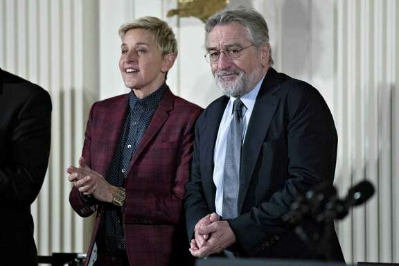 Robert De Niro and Ellen DeGeneres at the Presidential Medal of Freedom ceremony in the White House in November 2016.