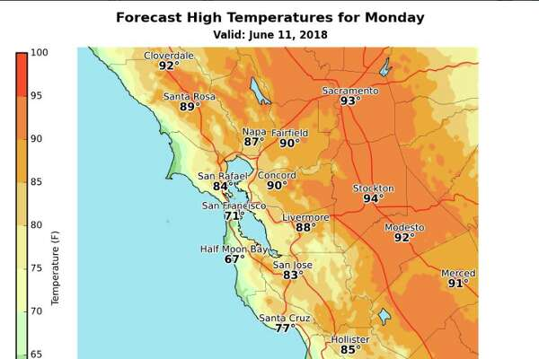 High temperatures forecast around the Bay Area Monday, according to the National Weather Service