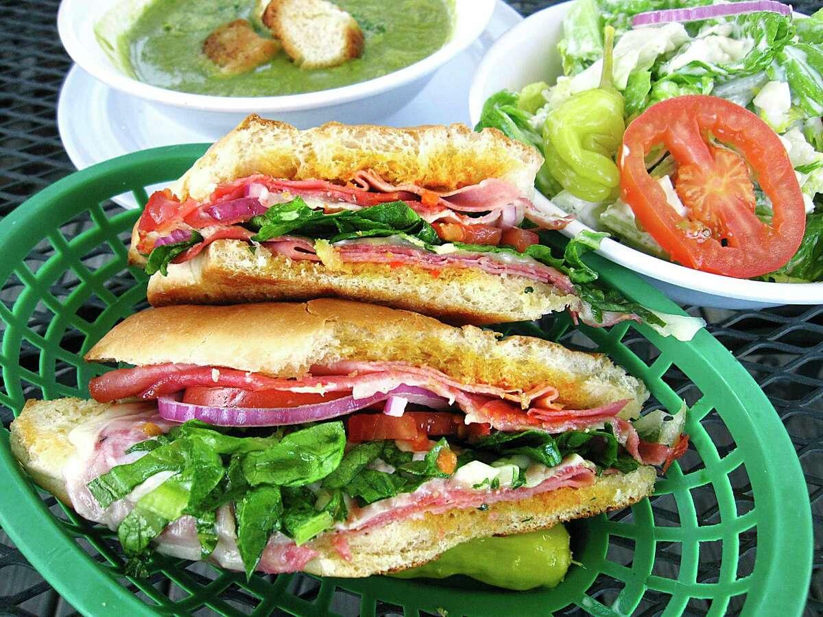 Dean Martin sandwich with Genoa salami, capocollo, mortadella, provolone, mozzarella and roasted red pepper sauce from Cerroni's Purple Garlic on Austin Highway.