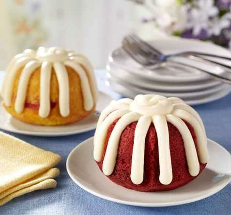 Red velvet and white chocolate raspberry Bundtlets are shown. Photo: Courtesy Nothing Bundt Cakes