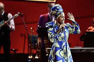 NEW YORK, NY - JANUARY 28:  Jazzmeia Horn performs onstage at the Premiere Ceremony during the 60th Annual GRAMMY Awards at Madison Square Garden on January 28, 2018 in New York City.