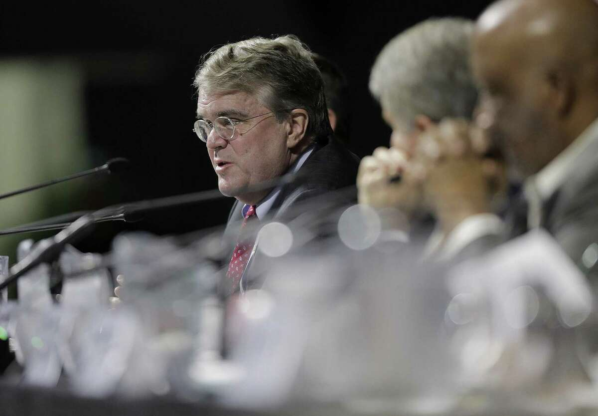 """U.S. Rep. John Culberson (R-TX) asks questions during the U.S. House of Reps., Committee on Homeland Security's hearing, """"Houston Strong: Hurricane Harvey Lessons Learned and the Path Forward at Berry Hall on Monday, April 9, 2018, in Cypress. Culberson on Monday announced his support for the proposed $2.5 billion flood control bond that goes before Harris County voters on Aug. 25. ( Elizabeth Conley / Houston Chronicle )"""