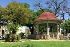 Downtown New Braunfels' Main Plaza was first built in 1845 and the gazebo was built in 1905 in the neo-classical style.