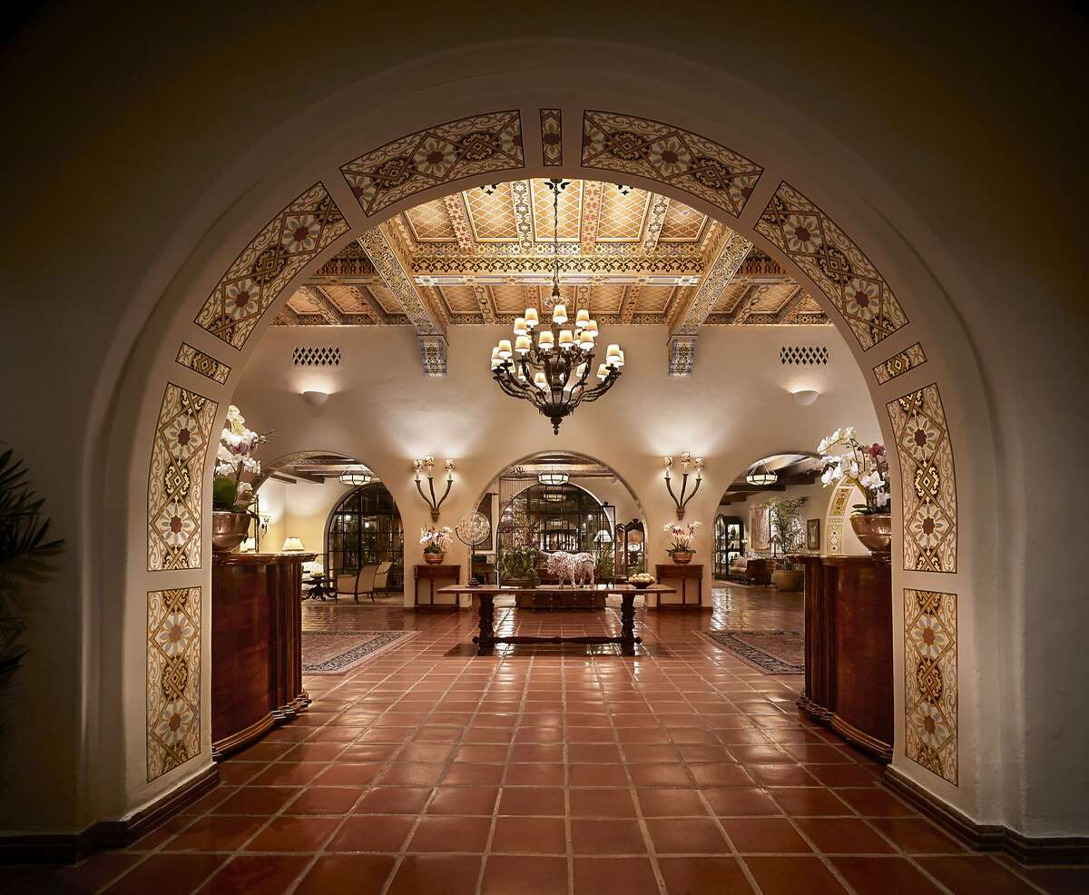 The lobby at the Four Seasons resort in Santa Barbara, formerly the Biltmore Hotel, reflects the Spanish Colonial style of 1927 architect Reginald Johnson.