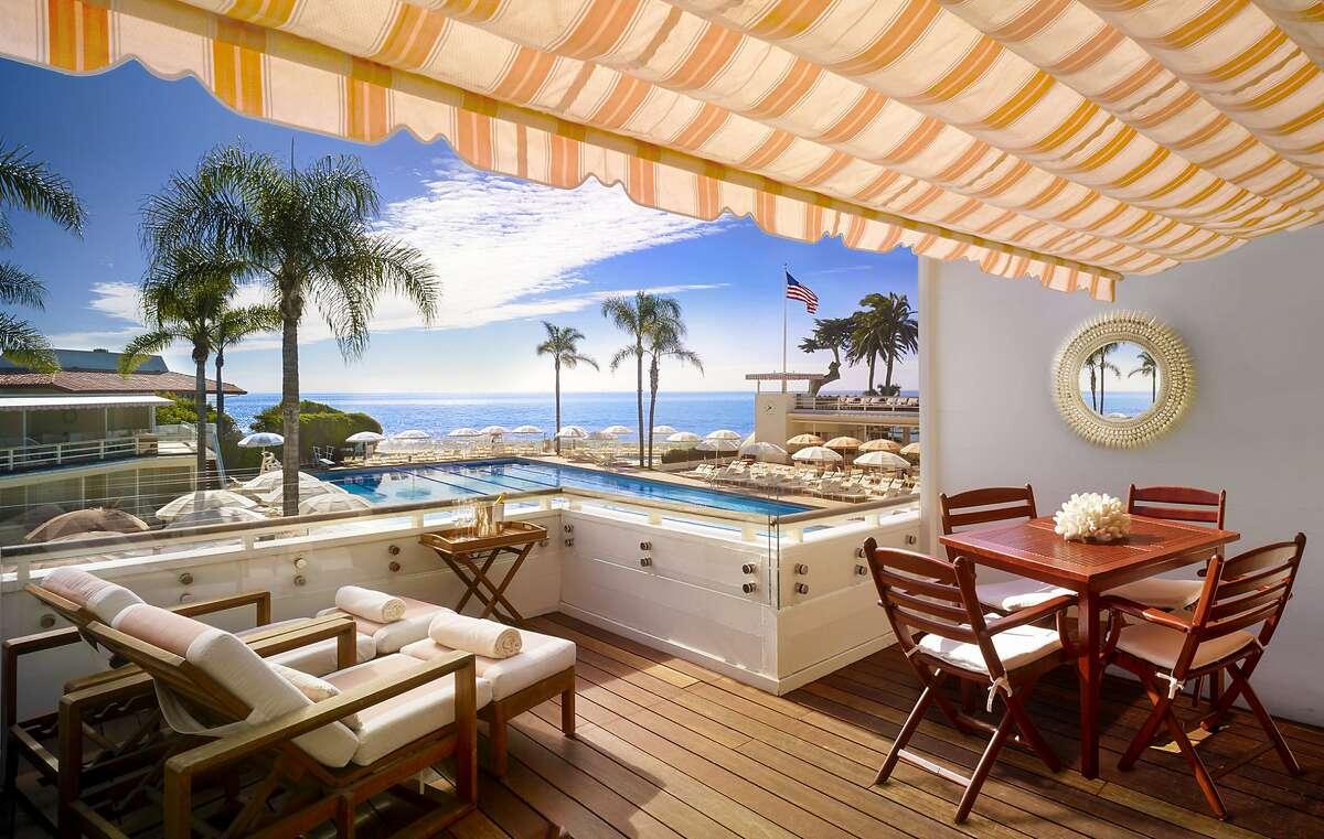 Cabanas line the pools at the Four Seasons Resort The Biltmore Santa Barbara.