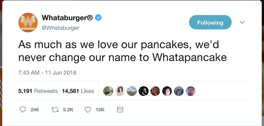 Whataburger shades IHOP for temporary name change to International House of Burgers. Photo: Twitter/@whataburger
