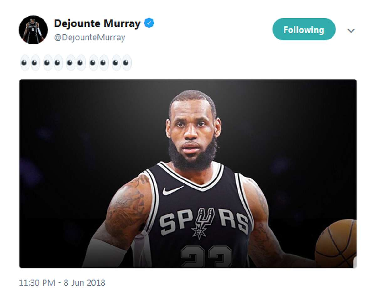 June 8: Spur Dejounte Murray, who is also a friend of James, tweets a photo of the current Cleveland Cavalier in Spurs jersey.