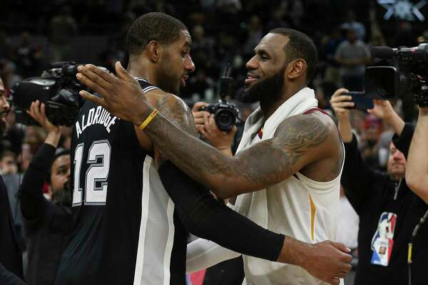 detailed look e2e5a c1894 1of8Spurs  LaMarcus Aldridge (12) congratulates Cleveland Cavaliers  LeBron  James (23) after the game at the AT T Center on Tuesday, Jan. 23, 2018.