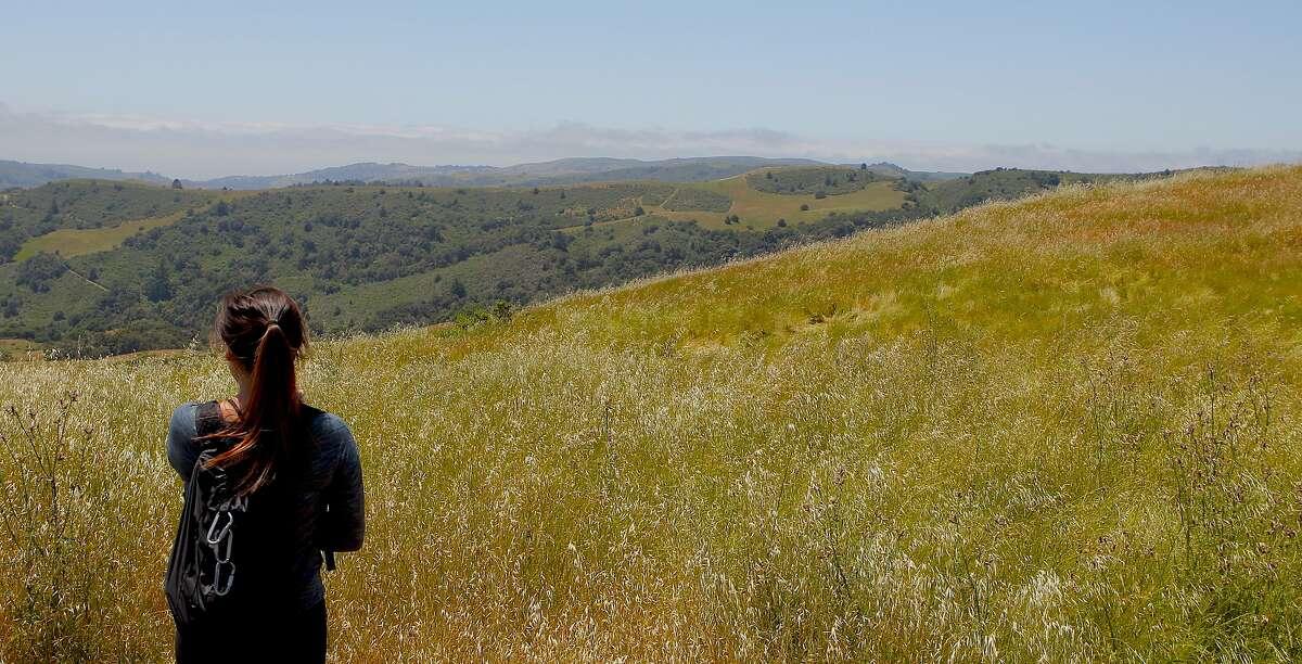 Monica Pang takes in coastal view at Chronicle hike at La Honda Creek Open Space Preserve