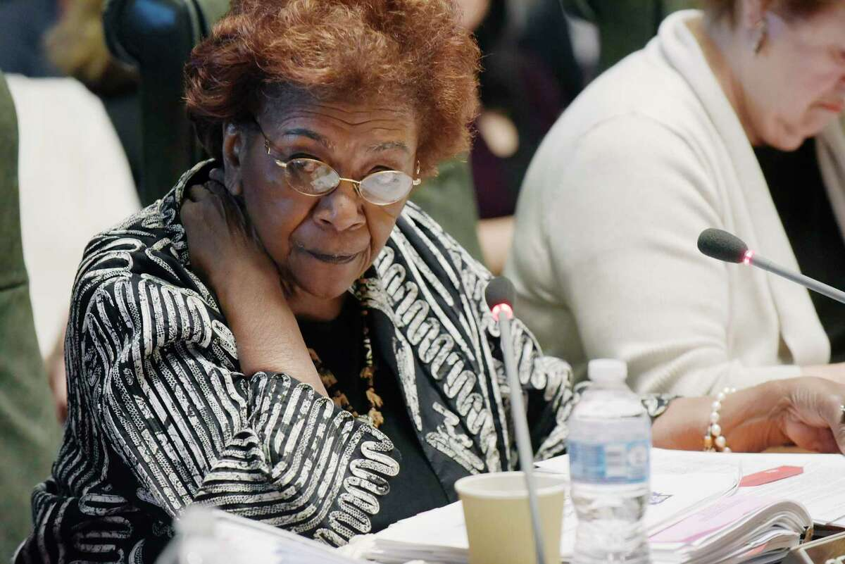 New York State Education Department Board of Regents member Judith Johnson addresses her fellow members during a Board of Regents meeting on Monday, June 11, 2018, in Albany, N.Y. (Paul Buckowski/Times Union)