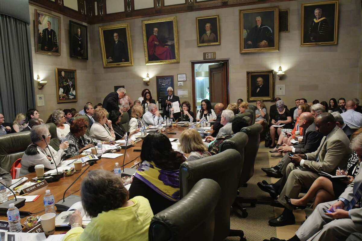 Members of the New York State Education Department Board of Regents take part in a meeting on Monday, June 11, 2018, in Albany, N.Y. (Paul Buckowski/Times Union)