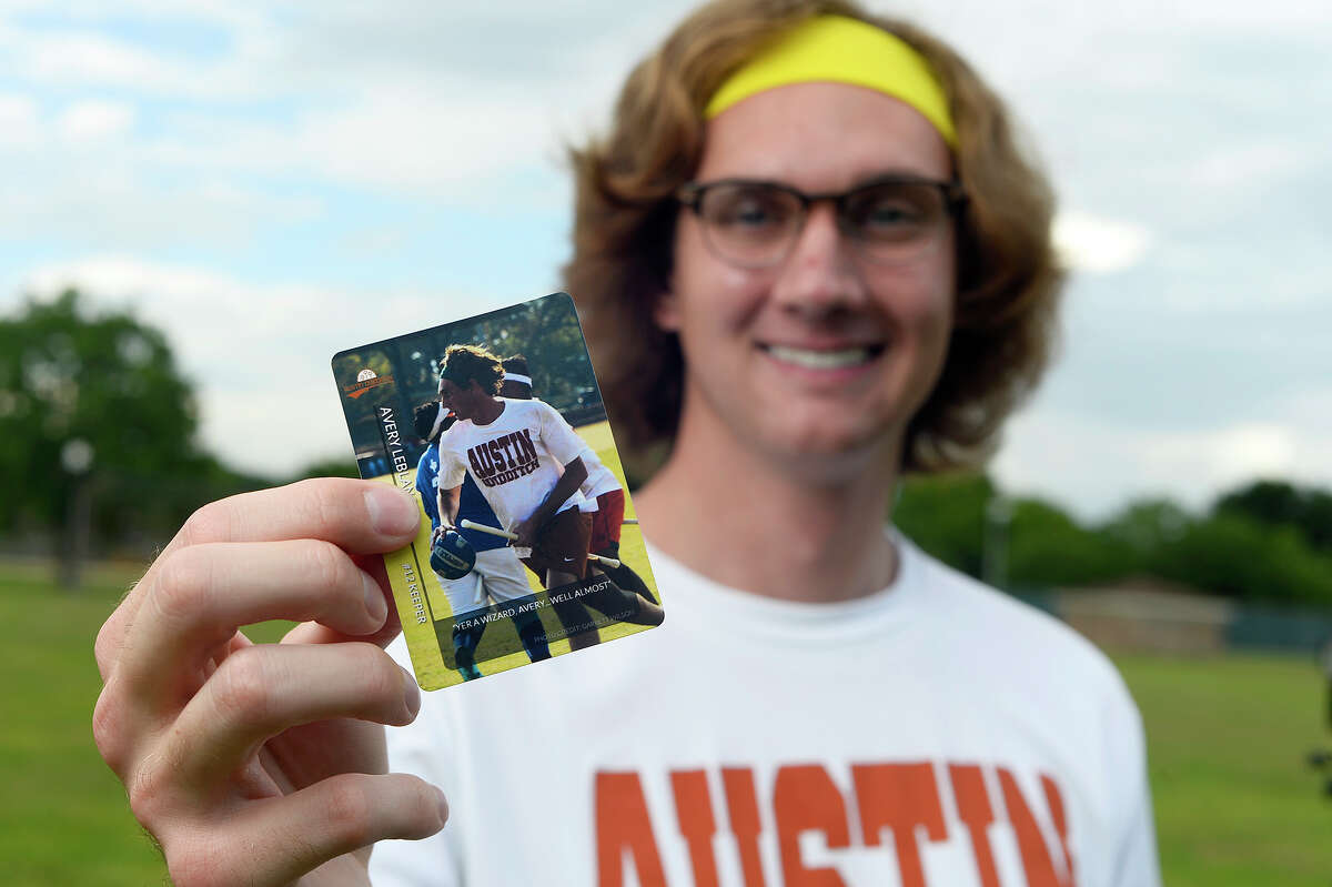 Avery LeBlanc holds his quidditch trading card, the mythical-turned-real sport from the Harry Potter books. LeBlanc plays for the University of Texas quidditch team, and it's common for players to trade each other their cards at tournaments. Photo taken Thursday 5/24/18 Ryan Pelham/The Enterprise