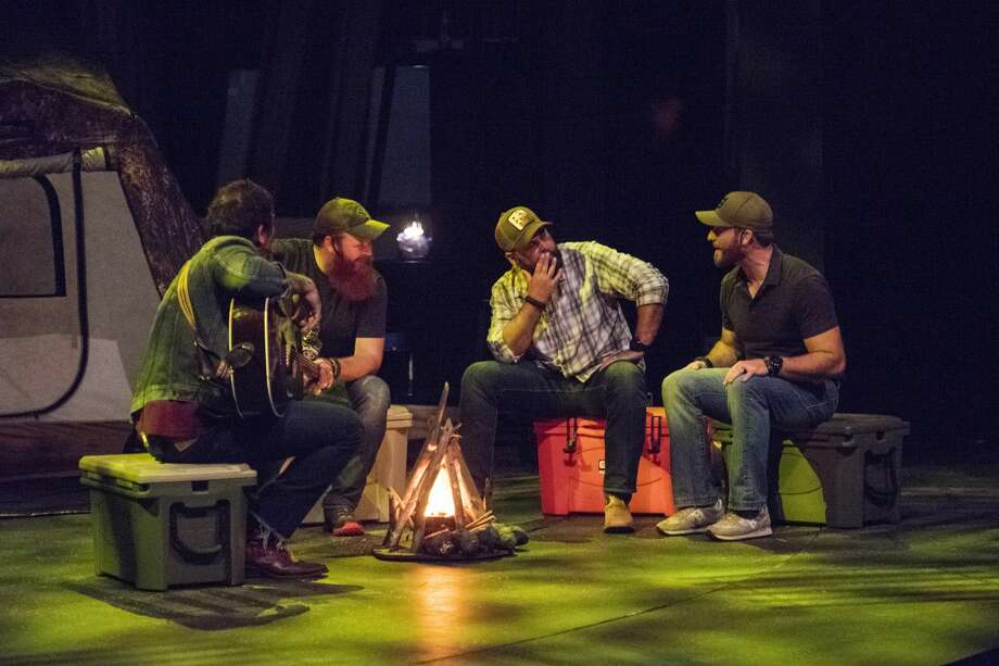 Beaverton singer and songwriter Brandon Calhoon, Midland producer Jason Brown, and Midland hunters and TV personalities Casey and Chris Keefer reenact the creation of Dropped during Dropped LIVE! with the Keefer Brothers at the Midland Center for the Arts on Friday, June 8, 2018. The event was part of the Matrix: Midland Festival. (Danielle McGrew Tenbusch/for the Daily News) Photo: Danielle McGrew Tenbusch, (Danielle McGrew Tenbusch/for The Daily News)