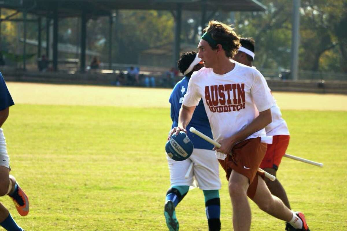 Avery LeBlanc of Nederland runs with the quaffle during a game for Austin Quidditch, one of two competitive teams off by the University of Texas. Photo by Garrett S. Wilson. Provided by Avery LeBlanc.