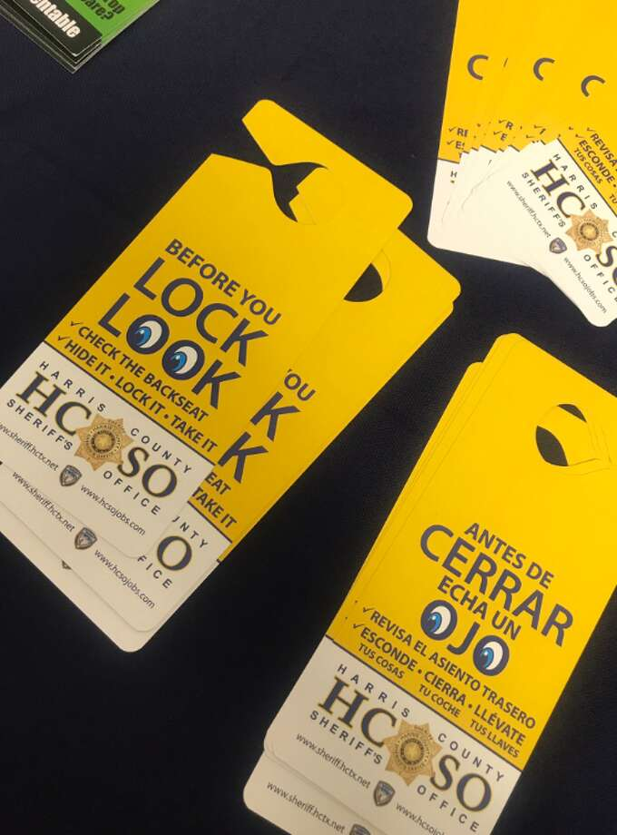 The Harris County Sheriff's Office announced a new initiative on Monday, June 11, 2018 to prevent hot car deaths. The office will distribute hang tags to remind people to check their backseats for children before leaving the car. Photo: Harris County Public Health