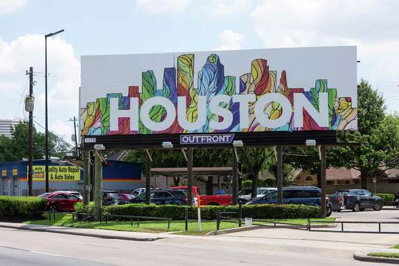 Artist Janavi M. Folmsbee was one of three artists selected by Houston First Corporation for the Sky Art project. Her colorful depiction of the Houston skyline can be found at2913 W. Loop 610 and Oakshire Drive across from The Galleria.