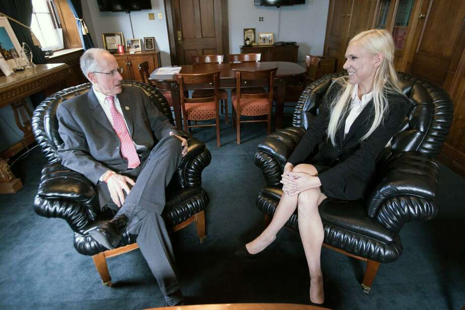 Texas A&M senior Kate Wright talks House Committee on Agriculture Chairman Mike Conaway as part of the university's Agricultural and Natural Resources Policy internship program in Washington, D.C. Photo: Courtesy