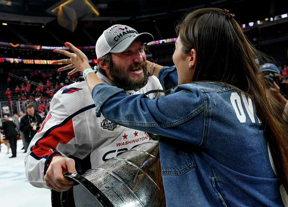 1bfc375a71a Alex Ovechkin greets his wife Nastya after the Stanley Cup-clinching  victory in Las Vegas