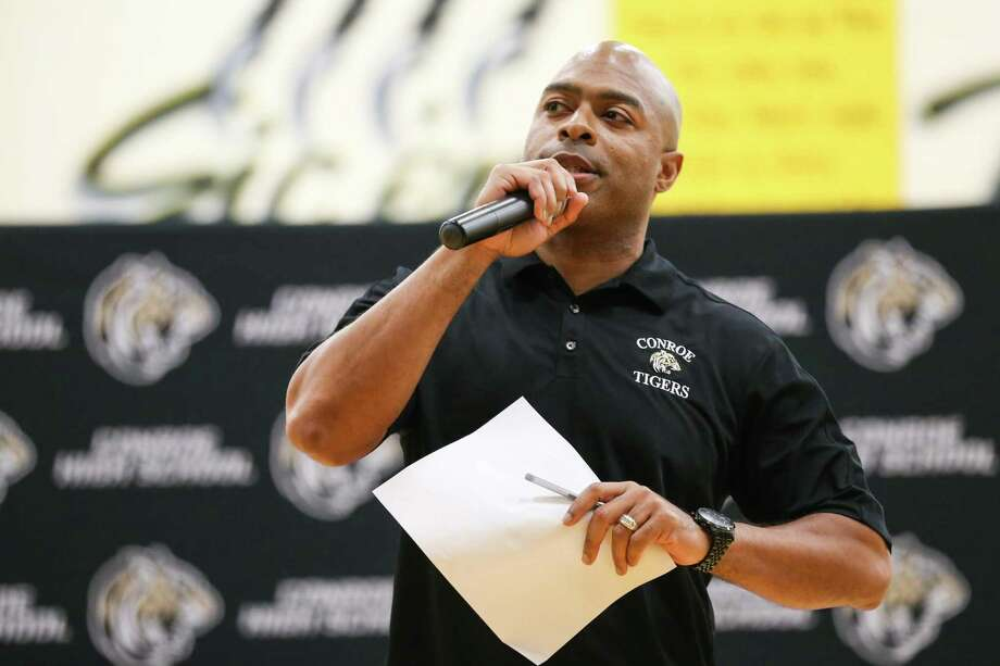 Conroe football coach Cedric Hardeman, seen here in April, didn't hold spring practices this season so his new coordinators could use the time to install their new schemes. Photo: Michael Minasi, Staff Photographer / Houston Chronicle / © 2018 Houston Chronicle