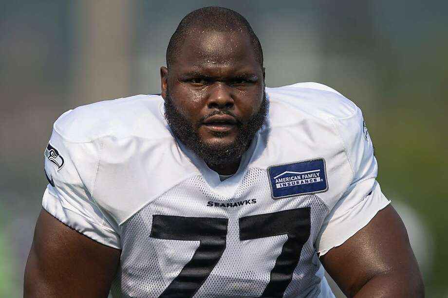 Seahawks defensive tackle Ahtyba Rubin breaks a sweat in the early minutes of training camp 2017, at Virginia Mason Athletic Center on Thursday, Aug. 3, 2017. (GRANT HINDSLEY, seattlepi.com) Photo: GRANT HINDSLEY / SEATTLEPI.COM