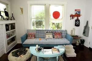 The living room in the home of ceramic artists Jennifer Datchuk and Ryan Takaba.
