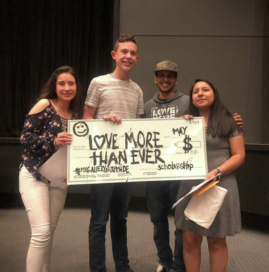 """Norwalk artist 5ive Fingaz awarded Brien McMahon High School students Emily Granja, Jake Hunter Zampa and Anna Garcia-Flores with the first """"Love More Than Ever"""" scholarship May 31, 2018. Photo: Contributed"""