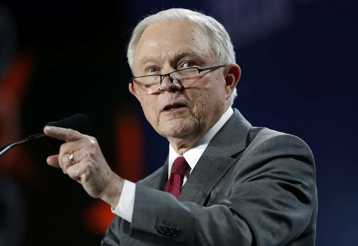U.S. Attorney General Jeff Sessions makes a point during his speech at the Western Conservative Summit, Friday, June 8, 2018, in Denver. (AP Photo/David Zalubowski)