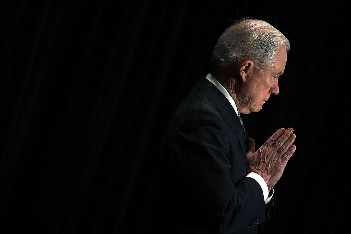 TYSONS, VA - JUNE 11: U.S. Attorney General Jeff Sessions listens as he is introduced during the Justice Department's Executive Officer for Immigration Review (EOIR) Annual Legal Training Program June 11, 2018 at the Sheraton Tysons Hotel in Tysons, Virginia. Sessions spoke on his intention to limit reasons for people to claim asylum in the U.S. (Photo by Alex Wong/Getty Images) *** BESTPIX ***