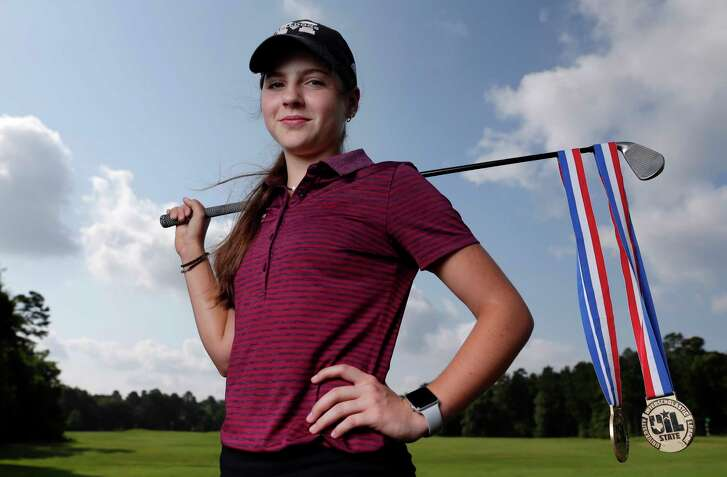 Halle Whitney, the All Greater Houston female golfer of the year, at the Lake Windcrest Country Club in Magnolia, TX Friday, June 1, 2018. (Michael Wyke / For the  Chronicle)
