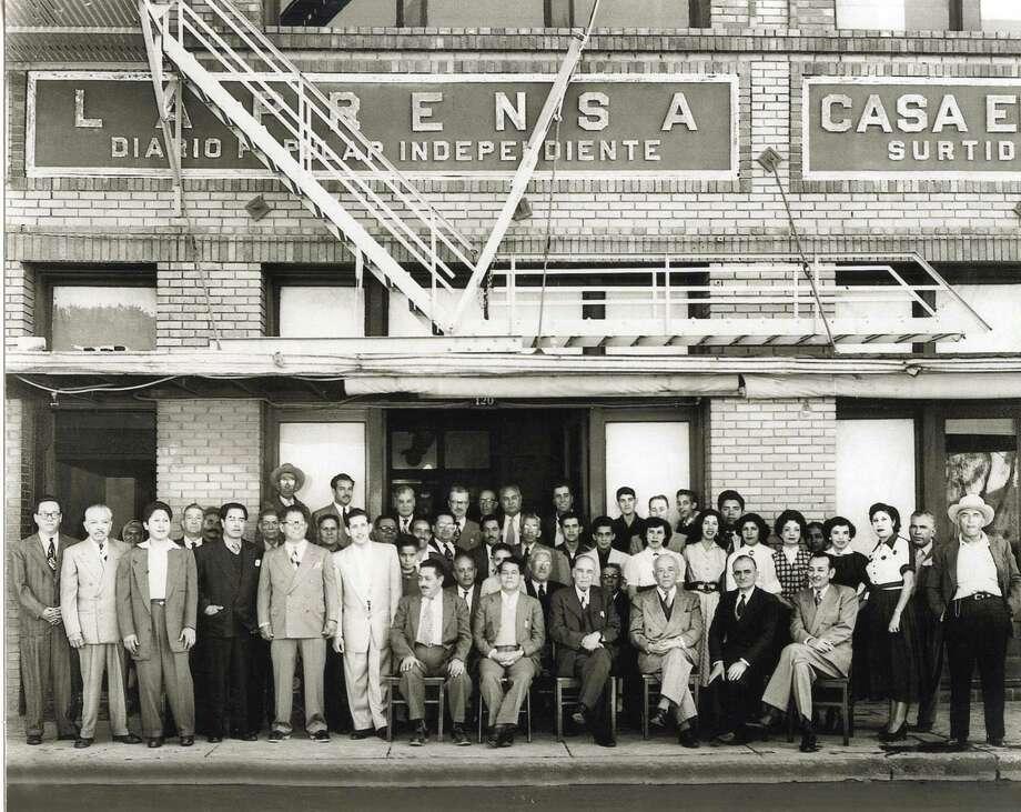 Staff of the Spanish-language daily La Prensa, shown around 1945-50. Photo: Express-News File Photo