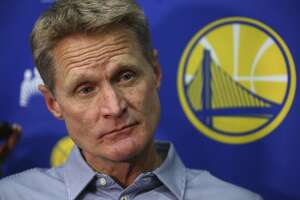 Golden State Warriors coach Steve Kerr during a media conference Monday, June 11, 2018, in Oakland, Calif. (AP Photo/Ben Margot)
