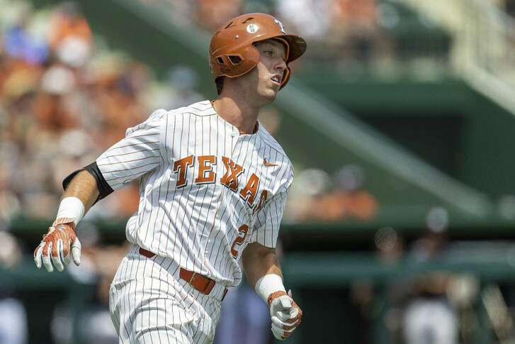 Texas' Kody Clemens heads for first during an NCAA Super Regional at UFCU Disch-Falk Field in Austin, Monday, June 11, 2018. (Stephen Spillman / for Express-News)