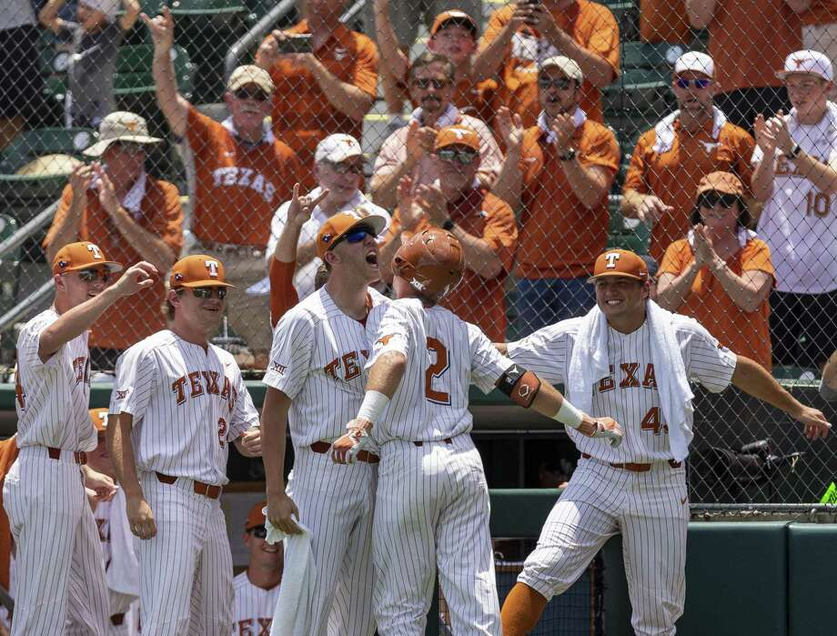 Texas' Kody Clemens (2) celebrates a home run against Tennessee Tech during an NCAA Super Regional at UFCU Disch-Falk Field in Austin, Monday, June 11, 2018. (Stephen Spillman / for Express-News) Photo: Stephen Spillman / Stephen Spillman / stephenspillman@me.com Stephen Spillman