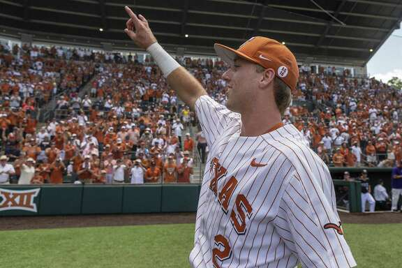 Texas' Kody Clemens celebrates a 5-2 win over Tennessee Tech during an NCAA Super Regional at UFCU Disch-Falk Field in Austin, Monday, June 11, 2018. (Stephen Spillman / for Express-News)