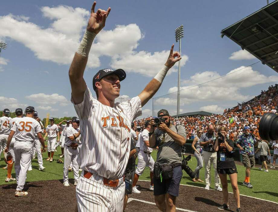 Texas' Kody Clemens (2) celebrates a 5-2 win over Tennessee Tech during an NCAA Super Regional at UFCU Disch-Falk Field in Austin, Monday, June 11, 2018. (Stephen Spillman / for Express-News) Photo: Stephen Spillman / Stephen Spillman / stephenspillman@me.com Stephen Spillman