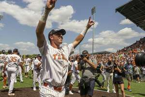 Texas' Kody Clemens (2) celebrates a 5-2 win over Tennessee Tech during an NCAA Super Regional at UFCU Disch-Falk Field in Austin, Monday, June 11, 2018. (Stephen Spillman / for Express-News)