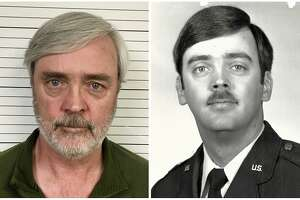 This combination of photos provided by the U.S. Air Force Office of Special Investigations shows William Howard Hughes Jr., after being captured in June 2018, at left, and an image from his time at the U.S. Air Force. Hughes, a Kirtland Air Force Base officer with top security clearance, disappeared 35 years ago and was found in California after a fraud investigation involving a fake identity he had been using. (U.S. Air Force Office of Special Investigations via AP)