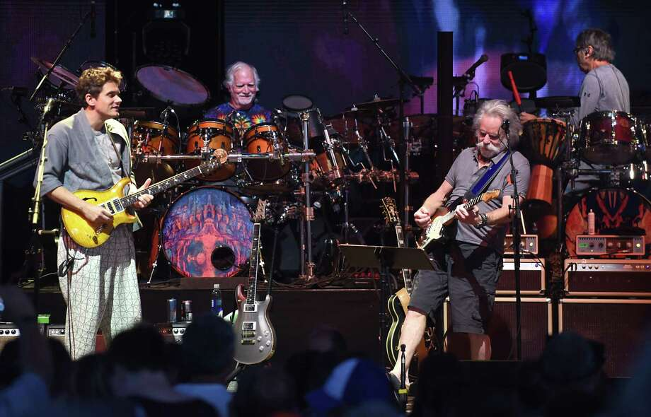 "Dead & Company including from left, John Mayer, Bill Kreutzmann, Bob Weir and Mickey Hart perform the song ""Jack Straw"" at Saratoga Performing Arts Center on Monday, June 11, 2018 in Saratoga Springs, N.Y. (Lori Van Buren/Times Union) Photo: Lori Van Buren, Albany Times Union / 40044049A"